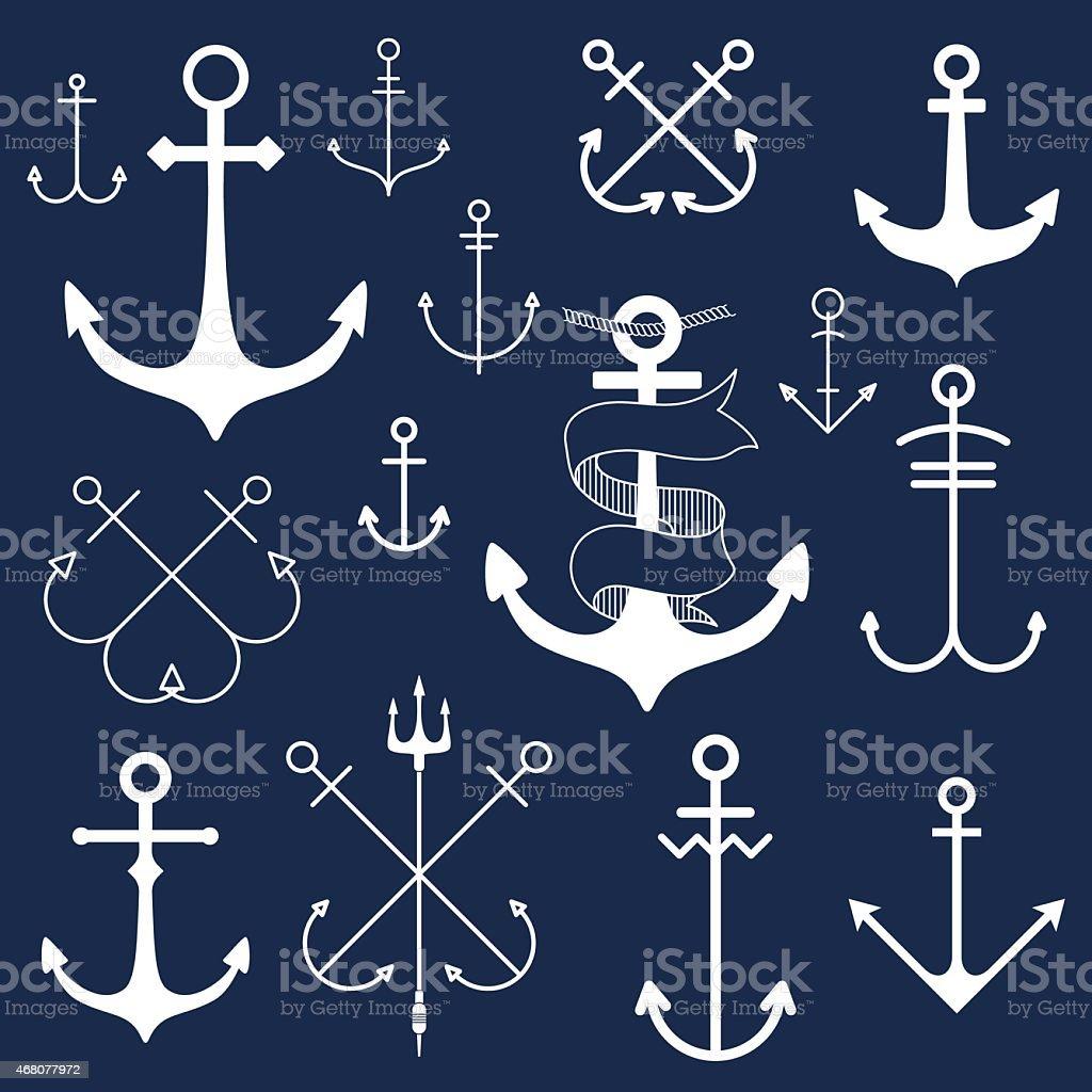 Set of anchors on blackboard vector art illustration