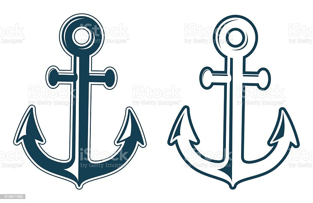 Set Of Anchors Silhouettes Stock Vector Art & More Images of