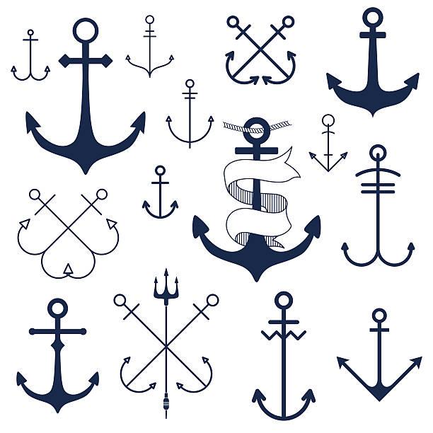 ilustraciones, imágenes clip art, dibujos animados e iconos de stock de juego de anclaje - tatuajes náuticos