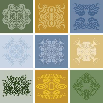 Set of ancient arabic elements