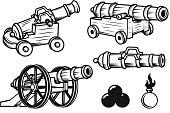Set of ancient cannons illustrations. Design elements for label, emblem, sign, badge. Vector illustration