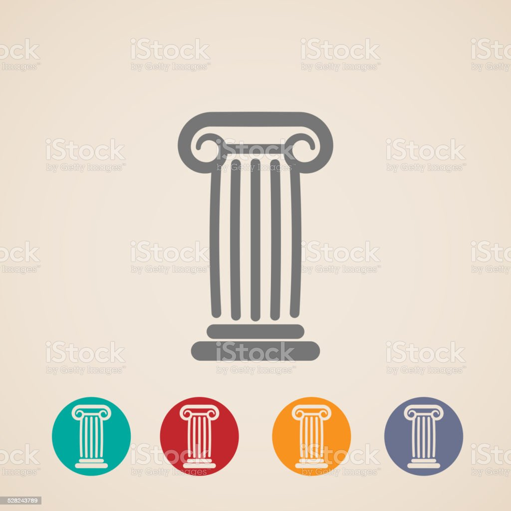 set of ancient column icons vector art illustration