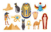 Set of Ancient Egypt Religious Symbols and Landmarks. Sphinx, Scarab and Camel, Mummy, Eye of Providence, Egyptian Pyramids and Pharaoh Mask with Anubis God and Black Cats. Cartoon Vector Illustration