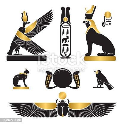Set of ancient egypt silhouettes - Nekhbet as griffon, eye of Horus and eye of Ra, Bastet as cat