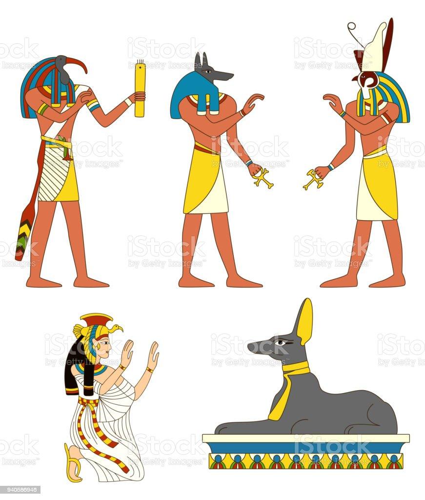 Satz Der Alten ägyptischen Götter Bilder Stock Vektor Art und mehr ...