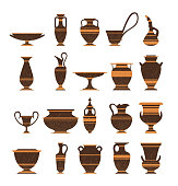 Collection of clay pots, old jugs and amphoras isolated icons on white background. Symbols of antiquity, archaeological finds.