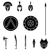 Set of ancient greek spartan weapon and protective equipment. Spear, sword, xyphos, shield, axe, helmet, leggins.