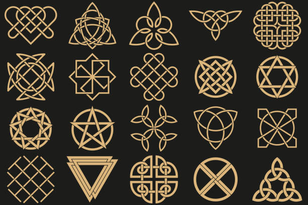 Set of ancient symbols Set of ancient symbols executed in Celtic style. Secret signs, knots, interlacings. Concept of secret and origin of mankind. Mascots, charms executed in the form of logos. Magic signs. Vector illustration. celtic knot stock illustrations