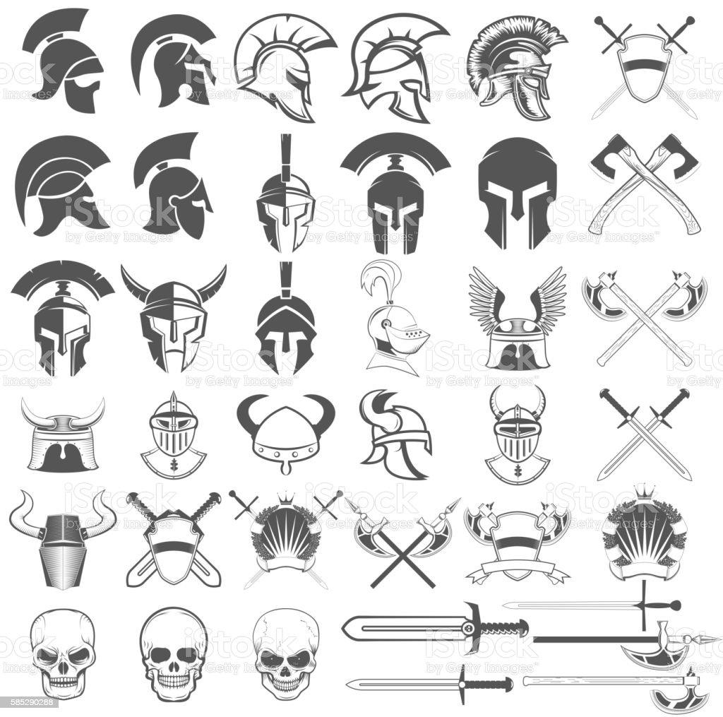 Set of ancient weapon, helmets, swords and design elements.