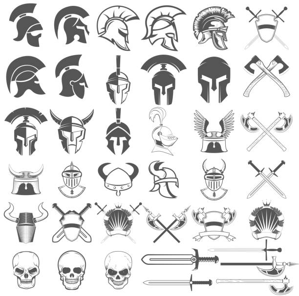 set of ancient weapon, helmets, swords and design elements. - knight in shining armor stock illustrations, clip art, cartoons, & icons