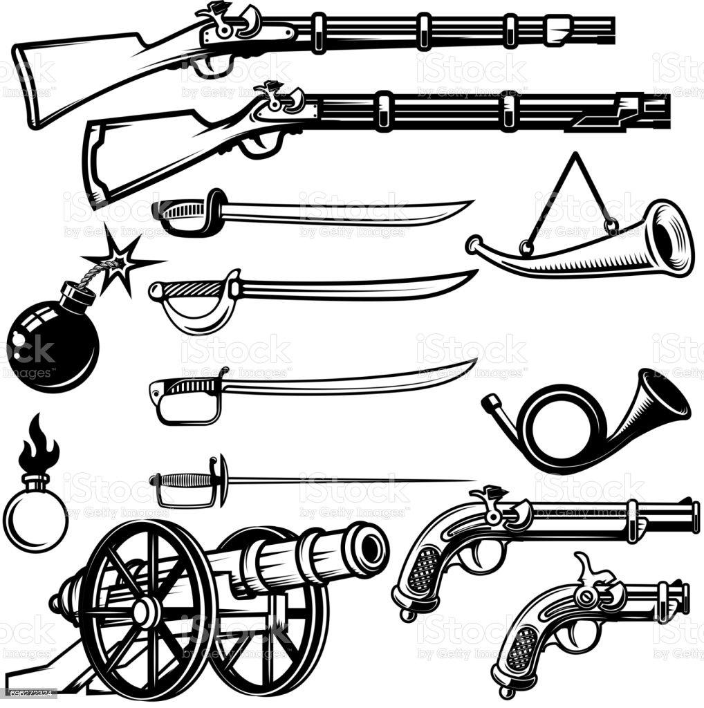 Set of ancient weapon. Muskets, saber, cannons, bombs. Design elements for label, emblem, sign, badge. Vector illustration vector art illustration