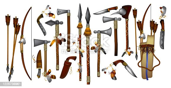A large set of weapons of ancient people - axes, bows, arrows, knives. Detailed realistic illustration.