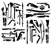 a large set of ancient weapons of American Indians and sheriffs, this illustration may be use as designer work. See more of my images here: http://s61.radikal.ru/i173/0905/98/c01cfa830780.jpg