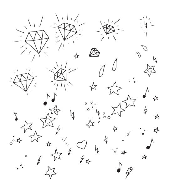 set of and drawn tattoo design elements - diamond tattoos stock illustrations, clip art, cartoons, & icons
