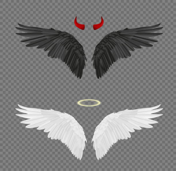 Set of angel and devil realistic wings, horns and halo isolated on transparent background vector art illustration