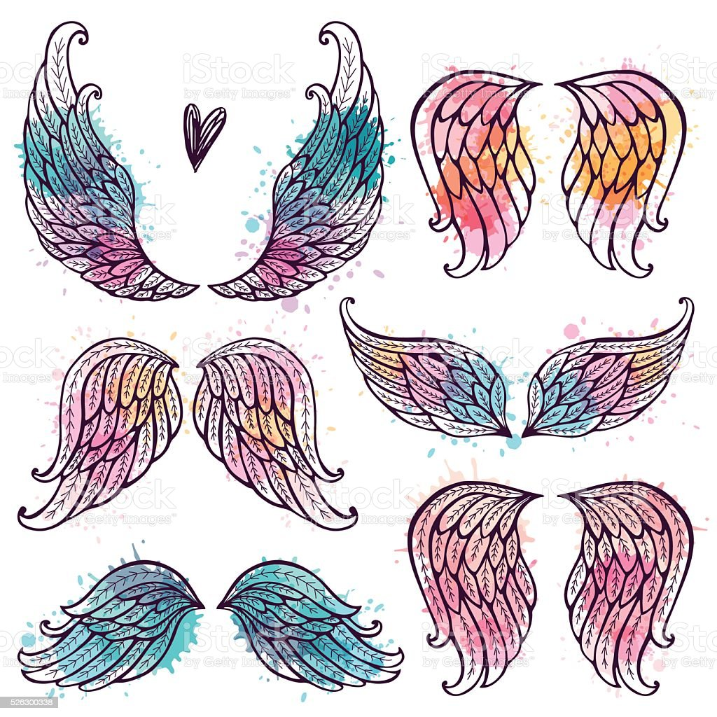 Set of angel wings vector art illustration