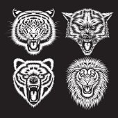 Set of Angry Animal Heads