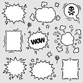 Set of angry and scream comic speech bubbles. Empty comic speech balloons and elements in retro vintage and pop art style..