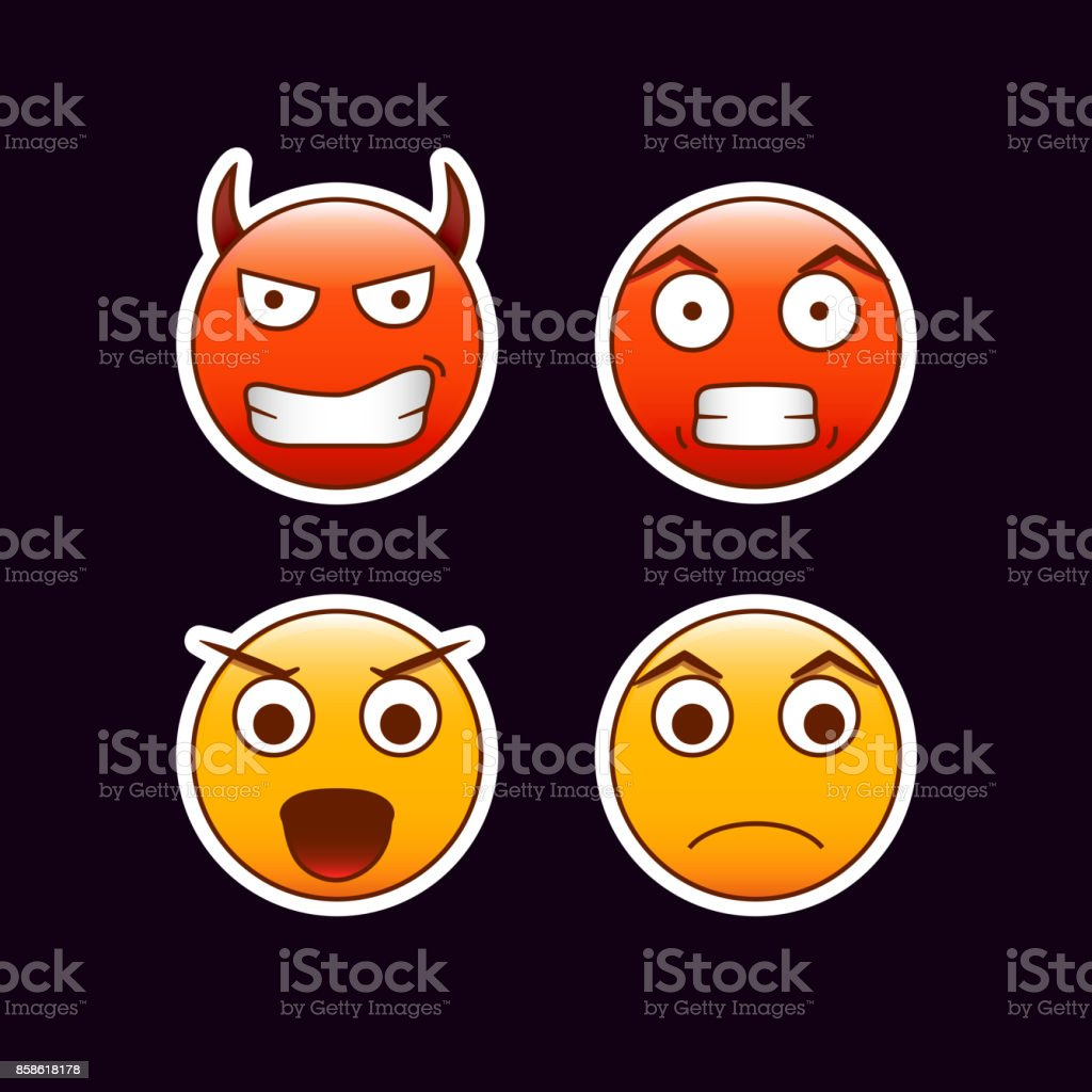 Set of angry emoticons. Evil, angry, disappointd, mad feelings. Editable vector emoji stickers vector art illustration