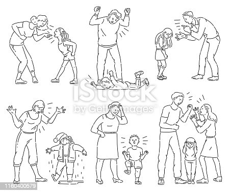 Set of angry parents arguing with child. Black and white collection of mother and father screaming at a kid or son throwing a tantrum, coloring book line art style isolated cartoon vector illustration