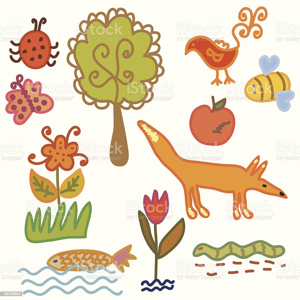 Set of animal and plants - environmental symbols royalty-free set of animal and plants environmental symbols stock vector art & more images of animal