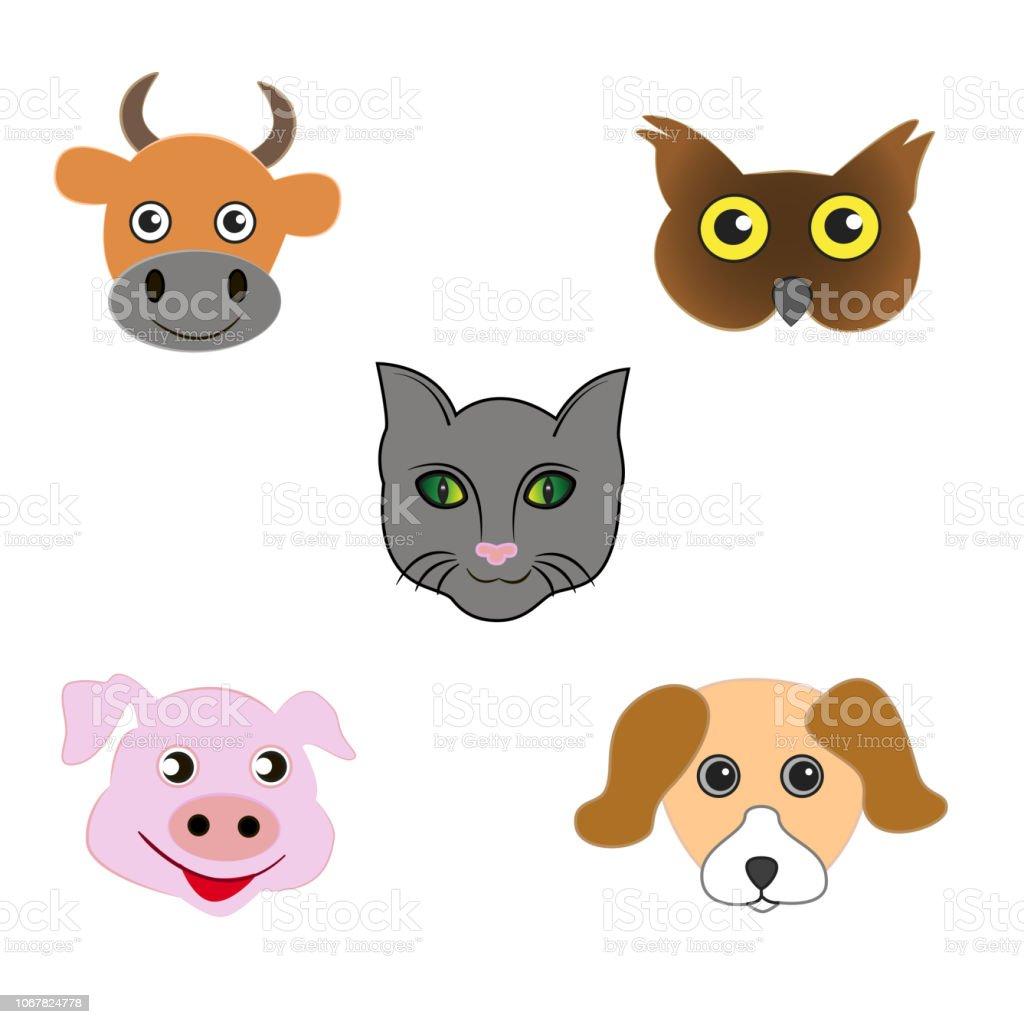 Set of animal emoticons. vector art illustration