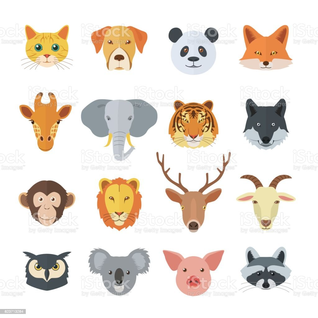Set of Animal Faces vector art illustration