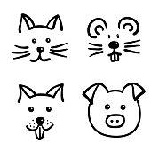 Hand drawn cut animal faces