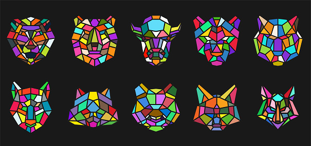 Set of animal head from lines in geometric polygonal style isolated on black color. Bear, bison, panther, panda, cat, lion, fox, wolf, tiger, raccoon. Modern graphic design element. Vector art.