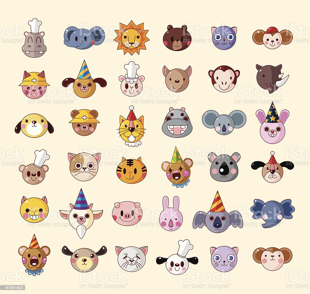 set of animal head icons royalty-free set of animal head icons stock vector art & more images of animal