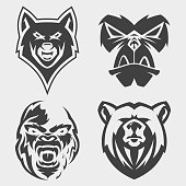 Set of animal head vector icon symbol for element design on the white background. Collection of animal head symbol design template in flat style. Vector illustration EPS.8 EPS.10
