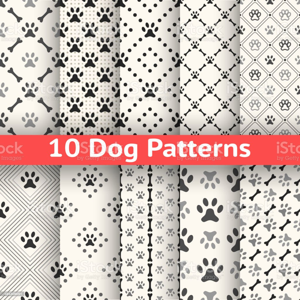 Set of animal seamless vector pattern vector art illustration