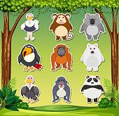Set of animal sticker illustration