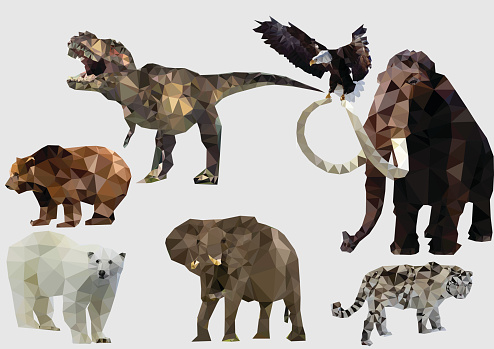 Set of animals is in geometrical style. Vector illustration