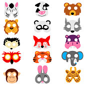 Set of animals masks isolated on white background. Vector illustration