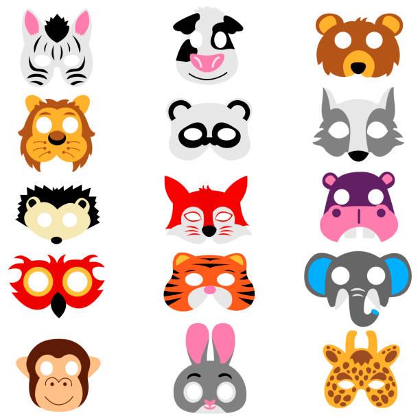 tiermasken isoliert auf weißem hintergrund - giraffenkostüm stock-grafiken, -clipart, -cartoons und -symbole