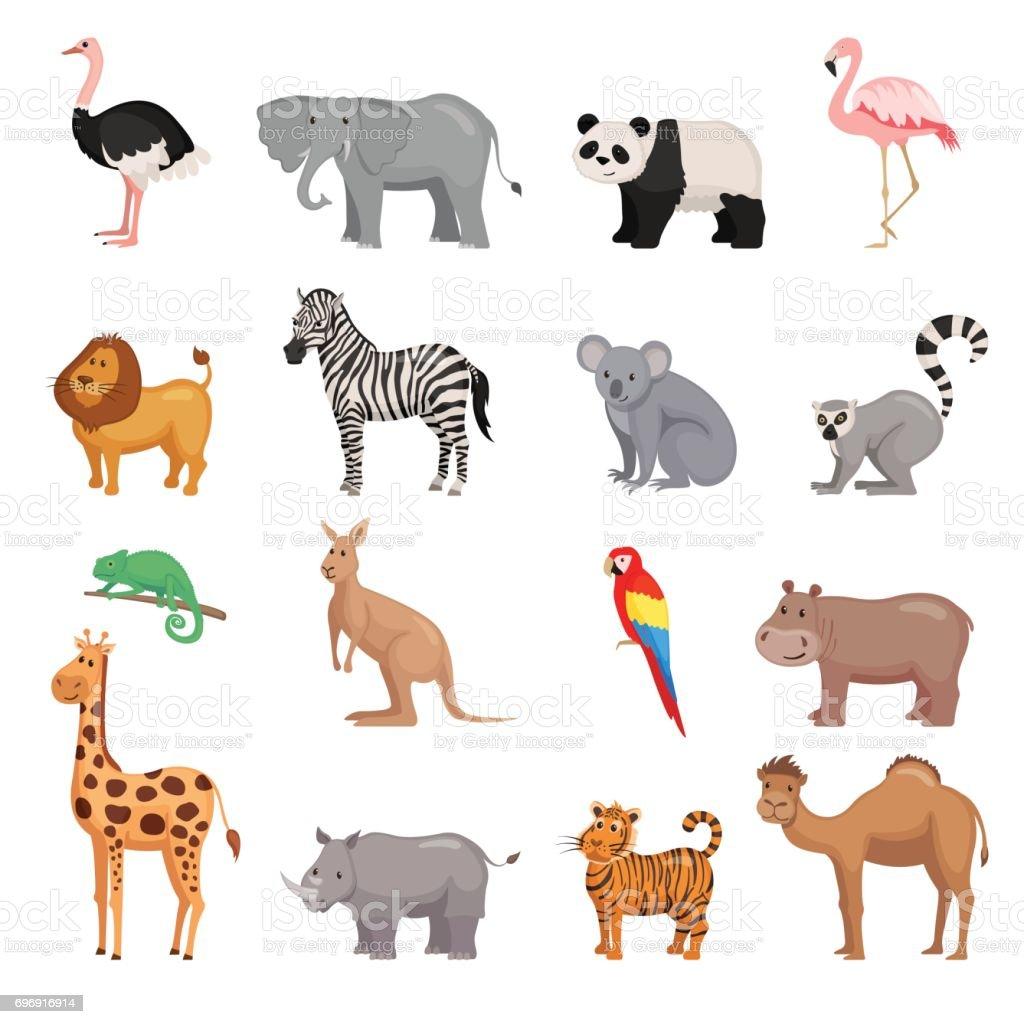 動物園の動物のセット ベクターアートイラスト
