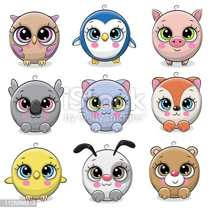 2 120 Cute Cartoon Animals With Big Eyes Illustrations Royalty Free Vector Graphics Clip Art Istock