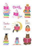 Set of animals reading books on white background. Education, reading, studying, learning vector illustration.
