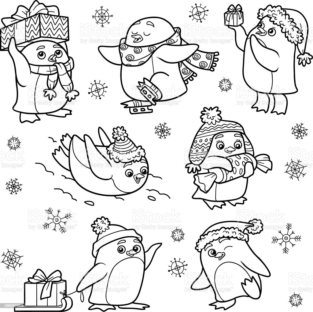 Set of animals, vector family of penguins vector art illustration