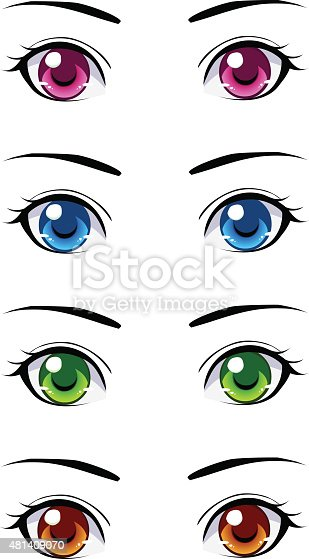 Set Of Anime Eyes Stock Vector Art & More Images Of 2015