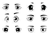 Set of anime style eyes isolated on white background