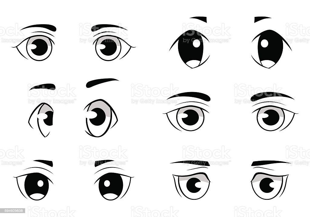 Set of anime style eyes isolated on white background vector art illustration