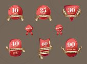 Vector : Set of Aniversary Celebration badge in red and gold color,Design element for  Anniversary event.