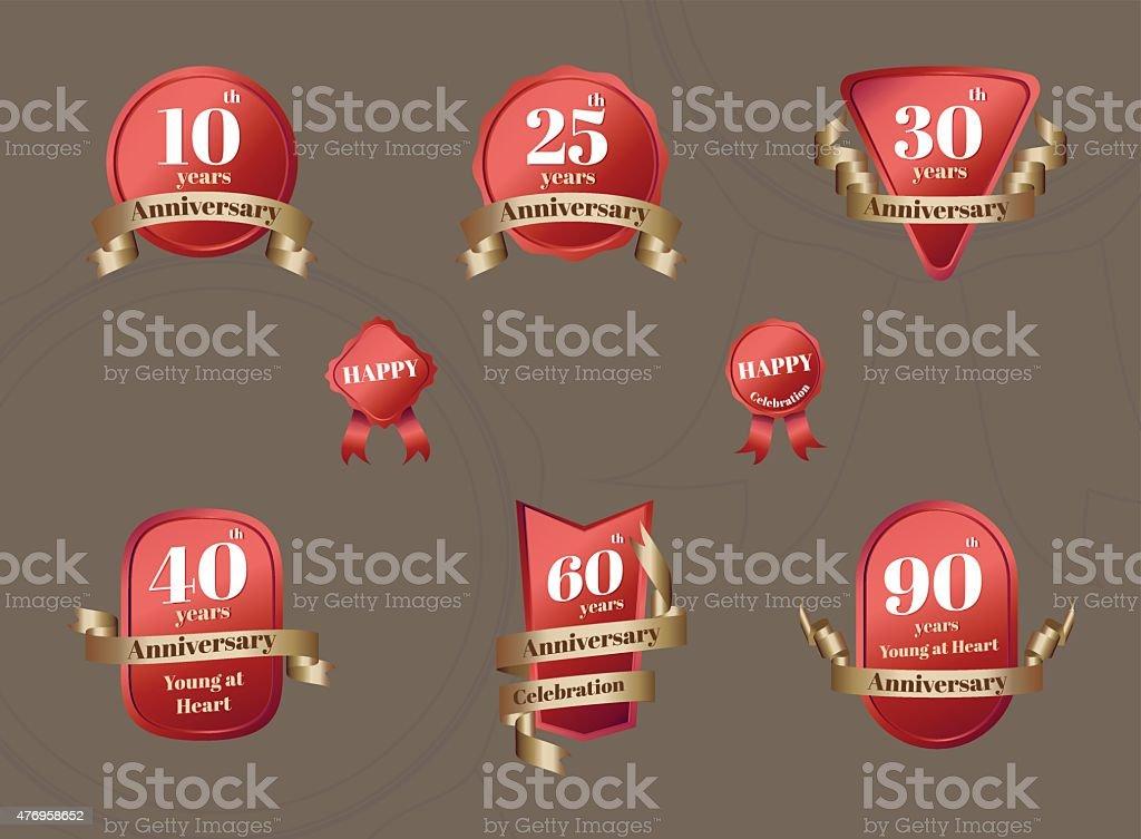 Conjunto de Aniversary celebración tarjeta en rojo y oro - ilustración de arte vectorial