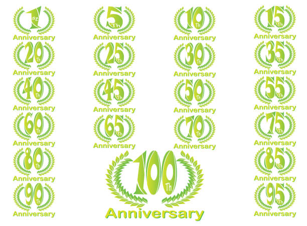 Set of anniversary badges celebrating banners 1 to 100 designs illustration on a white background Set of anniversary badges celebrating banners 1 to 100 designs illustration on a white background greeting card with the 45th anniversary stock illustrations