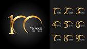 Set of anniversary badges. Golden anniversary celebration emblem design for company profile, booklet, leaflet, magazine, brochure poster, web, invitation or greeting card. Vector illustration.