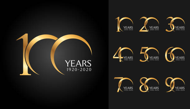 set of anniversary badges. golden anniversary celebration emblem design for company profile, booklet, leaflet, magazine, brochure poster, web, invitation or greeting card. - anniversary designs stock illustrations