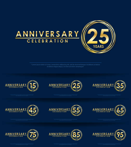 set of anniversary celebration emblem, 15-95th anniversary golden logo with ring. template design for web, game ,creative poster, booklet, leaflet, flyer, magazine, greeting and invitation card set of anniversary celebration emblem, 15-95th anniversary golden logo with ring. template design for web, game ,creative poster, booklet, leaflet, flyer, magazine, greeting and invitation card greeting card with the 45th anniversary stock illustrations