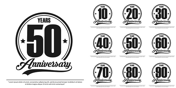 set of anniversary celebration emblem, anniversary ribbon label, black and white stamp isolated, vector illustration template design for celebration greeting and invitation card